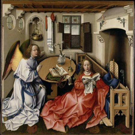 Robert Campin/Werkstatt, Mitteltafel des Mérode-Triptychons, um 1430. Copyright: Public Domain (https://commons.wikimedia.org/wiki/File:Robert_Campin_-_L%27_Annonciation_-_1425.jpg)