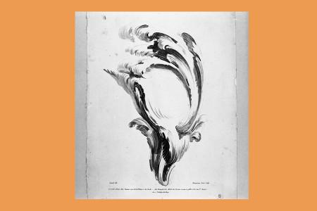 """Ornamentstich Rokoko: Girard (Ornamentzeichner in Paris, Lebensdaten unbekannt), ein Blatt einer sechsteiligen Folge von Rocaille-Ornamenten mit schwungvollen Entwürfen für Muschelwerk und Voluten mit dem Titel """"Autre Suitte de leçons d'ornemens dans le goût du Crayon. Dessiné par Girard…Gravé par Demarteau [1722–1776] l'ainé"""". Rocaille, um 1750, H 34 cm, B 22,3 cm, Inv. Nr. LOZ 101, Radierung in Kreidemanier, Bezeichnung: """"Girard del. Demarteau l'ainé Sculp."""" Foto: Museum Angewandte Kunst Frankfurt"""