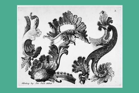 """Ornamentstich Rokoko: Johann Jacob Wolrab, Herausgeber (Nürnberg 1675 bis 1746, Verleger), eine Folge von Rocaille-Ornamenten, zum Teil mit Putten und pflanzlichen Ornamenten, um 1740. """"Muschelornament"""", H 16,7 cm, B 22,4 cm, Inv. Nr. LO 1959, Kupferstich/Radierung, Bezeichnung: """"Nürnberg bey Joh. Jacob Wolrab."""" Foto: Museum Angewandte Kunst Frankfurt"""