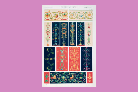 """Ornamentgrafik Historismus: Owen Jones (London 1809 bis 1874, Architekt, Ornamentzeichner, Buchillustrator und Autor), Ornamentbeispiele verschiedener Kulturen und Zeiten, 1856, aus: """"Grammatik der Ornamente. Illustriert mit Mustern von den verschiedenen Stylarten der Ornamente in Hundert und zwölf Tafeln"""", London, bei Queritch, 1868. Die Originalausgabe mit dem Titel """"Grammer of Ornaments"""" erschien 1856 und ist """"die erste umfassende Darstellung der ornamentalen Sprache der Völker und Zeiten, ein Werk, das für die Praxis des modernen Kunstgewerbes von unermesslichem Einfluss gewesen ist"""" (Art Union of London, 1875). Tafel 24, Pompejische Ornamente, H 34 cm, B 25 cm, Inv. Nr. LOZ 2954, Farblithografie, Foto: Museum Angewandte Kunst Frankfurt"""