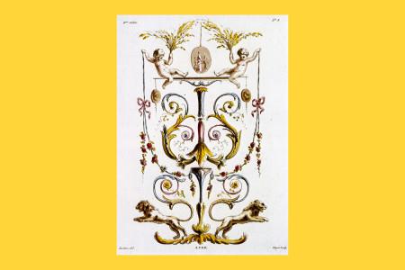 """Vorlagegrafik Klassizismus: Pierre Thomas Leclerc (Paris 1740 bis 1796, Porträt- und Genremaler, Zeichner und Kupferstecher), Blatt 3 aus Heft 8 der von Laurent Guyet, Kupferstecher in Paris, herausgegebenen Serie """"Nouvelle Collection d'Arabesques"""". An den Entwürfen waren verschiedene Künstler beteiligt. Die deutsche Ausgabe der Serie erschien 1810 unter dem Titel """"Sammlung von Arabesken"""". Hochfüllung mit Löwen und Putten, um 1785, H 29,7 cm, B 21,5 cm, Inv. Nr. LOZ 1432, Aquatintaradierung, koloriert, Bezeichnung: """"Leclerc del. A. P. D. R. Guyot sculp."""" Foto: Museum Angewandte Kunst Frankfurt"""