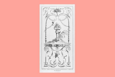 """Vorlagegrafik Rokoko: Jean-Antoine Watteau (Valenciennes 1684 bis Nogent-sur-Marne 1721, Maler des französischen Rokoko, der mit seinen fêtes galantes eine neue Bildgattung schuf), Hochfüllung mit Pierrot nach einer Folge von acht Arabeskendekorationen, ehemals im Hôtel de Nointel, radiert von Jean Moyreau (1690–1762). """"Le Frileux"""" (Der Fröstelnde), 1731, H 45 cm, B 22,5 cm, Inv. Nr. LOZ 2472, Radierung, zwei Bezeichnungen: """"Watteau Pinxit. J. Moyreau Sculp."""" und """"A Paris chez Gersaint…et chez Surgue…"""", Foto: Museum Angewandte Kunst Frankfurt"""