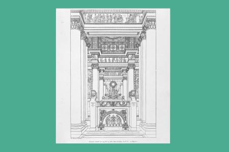 """Vorlagegrafik Klassizismus: Charles Percier (Paris 1764 bis 1838, Architekt) und Pierre François Leonard Fontaine (Poufoise 1762 bis Paris 1853, Architekt), zusammen ein Team und von 1794 bis 1814 auf Einrichtungsentwürfe spezialisiert. Das gemeinsame 72 Tafeln umfassende Tafelwerk """"Recueil de Décorations intérieures"""" erschien zuerst 1801 bei Didot l'ainé in Paris. Die hier vorliegende zweite Auflage stammt von 1812. Nach Berliner/Egger handelt es sich hierbei um """"das maßgebende Ornamentwerk des Empire, das in seinen Entwürfen die neu-imperialistischen Ideen Napoleons mit seiner Phantasie einer Restauration des augusteischen Zeitalters verwirklicht"""". Tafel 31: """"Kaminumrahmung mit Spiegel"""", 1801, H 32,5 cm, B 24,5 cm, Inv. Nr. LOZ 454, Radierung, Bezeichnung: """"Par Percier et Fontaine"""", Foto: Museum Angewandte Kunst Frankfurt"""