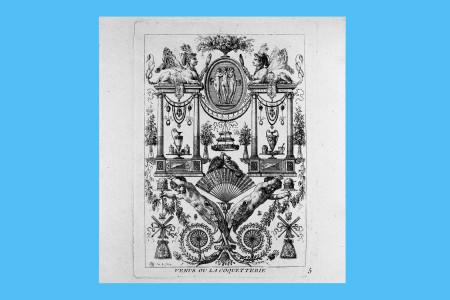 """Vorlagegrafik Klassizismus: Jean Demosthene Dugourc (Versailles 1749 bis Paris 1825, Maler und Kupferstecher; seit 1780 Dekorationsentwerfer am Hof, gegen 1790 Generalinspekteur der französischen Manufakturen). Dugourcs Entwürfe für Hochfüllungen wurden unter dem Titel """"Arabesques Inventés Et Gravés Par I. D. Dugourc"""" bei Jacques-François Chéreau in Paris 1782 verlegt. Neben den viel Elementen werden Mars und Venus thematisiert. Blatt Nr. 5 von sechs """"Arabesken"""", """"Venus ou la Coquetterie"""" (Venus oder die Koketterie) 1782, H 15,9 cm, B 11,5 cm, Inv. Nr. LO 2036, Radierung, Bezeichnung: """"DG inv. & f."""" Foto: Museum Angewandte Kunst Frankfurt"""