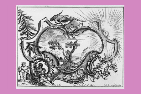 """Ornamentstich Rokoko: François du Cuvilliés d. Ä. (Soignies, Hennegau, Belgien 1695 bis München 1768, Baumeister, Bildhauer, Stuckateur, Ornamentschöpfer sowie bayerischer Hofbaumeister, ausgebildet vor allem in Paris, zählt zu den Großmeistern des deutschen Rokoko), """"Livre de Cartouches"""", sechsteilige Folge eines Reihenwerks, das ab 1738 erschien. Kartusche mit Landschaftshintergrund, Putti und Fasan, um 1740, asymmetrisch; der untere Teil ist aus Rocailleschwüngen gebildet, die oberen gegenläufigen C-Schwünge zeigen zudem ein geborstenes Mauerwerk. Der Stecher der Folge war Carl Albert von Lespilliez (1723–1796), Architekt und Kupferstecher in München. H 18,8 cm, B 24,8 cm, Inv. Nr. LOZ 422, Kupferstich/Radierung, Bezeichnung: """"F. de Cuvillies. Inv. Et. del. … C. A. de Lespilliez. Scu."""" Foto: Museum Angewandte Kunst Frankfurt"""