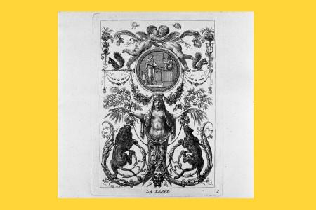"""Vorlagegrafik Klassizismus: Jean Demosthene Dugourc (Versailles 1749 bis Paris 1825, Maler und Kupferstecher; seit 1780 Dekorationsentwerfer am Hof, gegen 1790 Generalinspekteur der französischen Manufakturen). Dugourcs Entwürfe für Hochfüllungen wurden unter dem Titel """"Arabesques Inventés Et Gravés Par I. D. Dugourc"""" bei Jacques-François Chéreau in Paris 1782 verlegt. Neben den vier Elementen werden Mars und Venus thematisiert. Blatt Nr. 2 von sechs """"Arabesken"""", """"La Terre"""" (Die Erde), 1782, H 15,9 cm, B 11,5 cm, Inv. Nr. LO 2031, Radierung, Bezeichnung: """"DG inv. & f."""", Foto: Museum Angewandte Kunst Frankfurt"""
