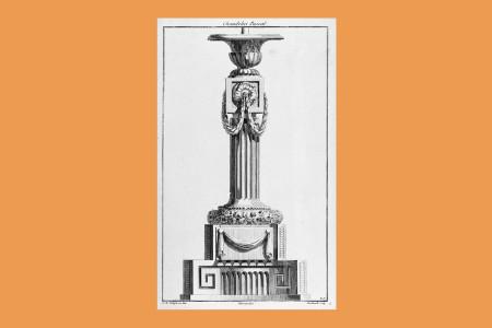 """Vorlagegrafik Klassizismus: Jean Charles Delafosse (Paris 1734 bis 1789, Architekt, Zeichner und Kupferstecher in Paris), """"Entwurf für einen Kirchenleuchter"""", 1771, Blatt aus """"Nouvelle Iconologie Historique Ou Attributs Hieroglyphiques … Par Jean Charles Delafosse"""", Paris 1771, Bd. II, Folge FF: """"Chandeliers d'Eglise, Pieds de Croix & c."""" (die erste Ausgabe war 1768 erschienen), H 37 cm, B 23 cm, Inv. Nr. LOZ 2220, Kupferstich, Bezeichnung: """"J. Ch. Delafosse Inv. Chereau Exc. Berthault sculp."""", Foto: Museum Angewandte Kunst Frankfurt"""