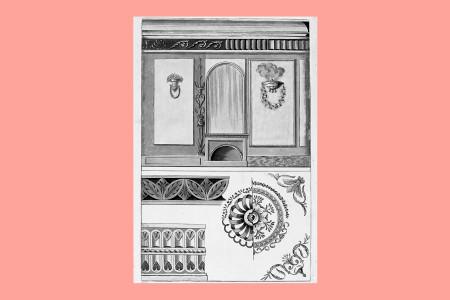 Vorlagegrafik Klassizismus: Unbekannt, aus einer Folge von Vorschlägen für Wandgestaltungen und farbigen Stuckierungen von Plafonds. a) Wand- und Deckengestaltung, um 1800, H 32,6 cm, B 20,6 cm, Inv. Nr. LOZ 1714, Radierung, koloriert, b) Unbekannt, ein Blatt Bordüren für die Innendekoration, um 1800, Inv. Nr. LOZ 1721, Radierung, koloriert, Foto: Museum Angewandte Kunst Frankfurt
