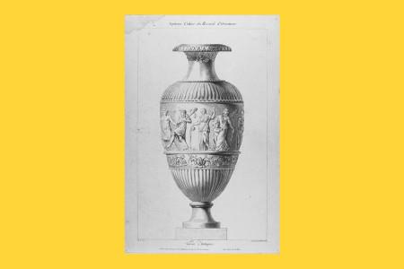 """Vorlagegrafik Klassizismus: Monogrammist R. L. (französischer Künstler, tätig im letzten Drittel des 18. Jahrhunderts), aus dem """"Septième Cahier du Recueil d'Ornamens"""", Folge: """"Vases Antiques"""", publiziert in Paris um 1790. """"Vase im antikisierenden Stil"""", H 45,8 cm, B 29,9 cm, Inv. Nr. LO 1849, Radierung in Kreidemanier, Bezeichnung: """"R. L. Del. Gravé par Mlle Brinclaire à Paris chez Chereau"""". Die Stecherin Elisabeth Brinclaire wurde 1751 geboren. Foto: Museum Angewandte Kunst Frankfurt"""