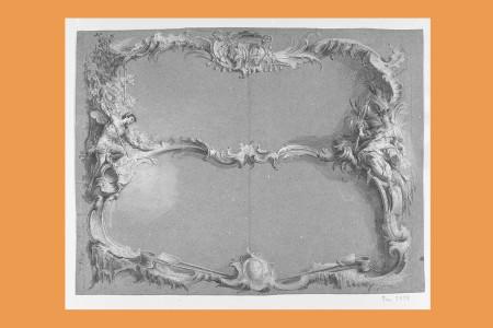 """Entwurf zu einer dekorativen Umrahmung, Rokoko: Voraussichtlich von Johann Esaias Nilson (Augsburg 1721 bis 1788, Miniaturmaler, Zeichner und Kupferstecher, Angehöriger der gleichnamigen Künstlerfamilie). Kartuschenhafte Rahmung aus Rocailleformen, die durch einen horizontalen Mittelsteg geteilt ist. In der Rahmung links befindet sich ein Satyr neben einer Weinhütte, rechts die römische Göttin Ceres mit Ähren in der Hand. In der Querleiste oben befindet sich eine Doppelkartusche unter einem Kardinalshut, auf der unteren Querleiste liegen seitlich Schöpfkellen und Holzschaufeln. (Ehemals Sammlung Lämmle, München.) H 32 cm, B 41,5 cm, Inv. Nr. 7479, Tuschezeichnung, weiß gehöht, auf blaugrauem Papier, die Rückseite ist zum Durchpausen rot eingerieben. Bezeichnung: """"Nilson"""" (vermutlich von anderer Hand). Foto: Museum Angewandte Kunst Frankfurt"""
