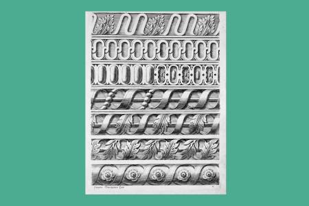 """Ornamentstich Barock: Jacques Stella (Lyon 1596 bis Paris 1657, Historienmaler und Radierer), """"Architektonischer Fries"""", 1658, ein Blatt aus """"Divers Ornements D'Architecture, Recueillis et Dessegnés Après L'Antique Par Mr. Stella Livre Premier à Paris … 1658"""", Titel und 14 Kupfertafeln von insgesamt 65 Blatt Bauornamenten, herausgegeben von Claudine Bouzonnet Stella. Die Blätter zeigen Rankenornamente, Akanthus, Karniese, Friese und Rosetten, H 27,4 cm, B 20,3 cm, Inv. Nr. LO 31, Kupferstich, Bezeichnung: """"Françoise Bouzonnet fecit."""" Foto: Museum Angewandte Kunst Frankfurt"""